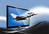 ID 3070058 | 电脑显示器军用飞机 | 向量插图 | CLIPARTO