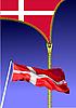 Reißverschluß öffnet dänische Flagge