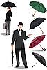 Frau und Herr mit den Regenschirmen
