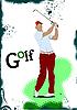Golfer schlägt Ball mit Schläger