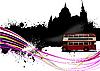 London, Grunge-Design mit einem Bus