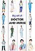 Set von Ärzten mit Pflegepersonal