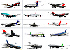 Set von Passagierflugzeugen