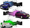 Drei Grunge-Banner mit Autos