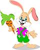 Cartoon Kaninchen hält eine Karotte