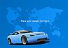 Blaues Auto und Weltkarte