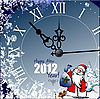 Happy New card with clock and Santa Claus 2012
