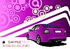 Lila Poster mit Auto