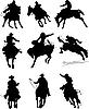 Rodeo-Silhouetten mit Pferden