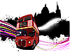London - Grunge-Poster mit Doppeldecker-Bus