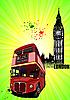 London - Poster mit Doppeldecker-Bus