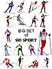 Zestaw sportowców narciarskie | Stock Vector Graphics