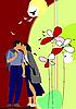 Blume Hintergrund mit küssenden Paares.