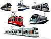 Vector clipart: City transport. Six Trams.