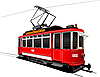 Vector clipart: City transport. Vintage tram style.