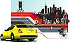 ID 3175156 | Einkaufstüten und gelbes Auto | Stock Vektorgrafik | CLIPARTO