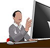 Schöner Mann sitzt vor dem Computer.