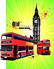 Poster mit alten roten Londoner Doppeldecker-Bus