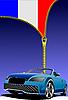 Reißverschluss, Flagge von Frankreich und Auto
