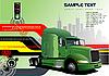 Hi-tech w tle z zielonym samochodem ciężarowym | Stock Vector Graphics