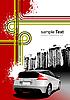 Grunge-Poster mit einem Auto in einer Stadt