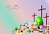 Osterkarte mit Eiern, Kreuzen und Blumen