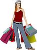 nettes Mädchen mit Einkaufstüten