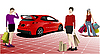drei Frauen mit roten Auto und Einkaufstaschen