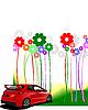 Blumen und rotes Auto