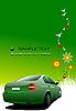 Grunge-Poster mit grünem Auto