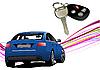 Blaues Auto und Zündung-Schlüssel