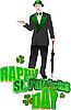 Gentleman mit Regenschirm im grünen Hut