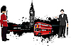 Grunge Banner mit London Bus under.