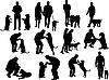 Menschen-Silhouetten mit Hunden
