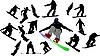 Silhouetten von Snowboardern