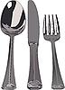 Silber-Set - Löffel, Messer, Gabel