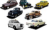 Sieben alte Rarität-Autos