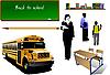 Schulbedarf mit Lehrern und Schülern
