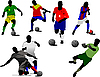 Set von Fußballspielern.