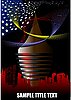 Abstrakte futuristische Stadt mit der amerikanischen Flagge