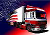 Farbige LKW mit der amerikanischen Flagge auf