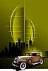 Retro Auto auf futuristischen abstrakten Hintergrund.