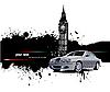 Grunge Banner mit London und Autos.