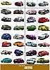 Große Reihe von 32 Arten Autos auf der Straße.