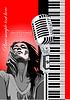 Векторный клипарт: постер с фортепиано, микрофоном и певицей
