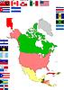 Landkarte von Nordamerika mit Flaggen