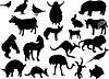 schwarze Silhouetten von Tieren