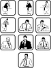Vector clipart: Ten silhouettes of office employees