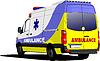 Moderne van Krankenwagen über weiß. Farbig