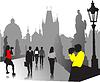 Menschen Silhouetten auf Altstadt Hintergrund